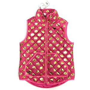 Simply Southern Pink Vest Gold Elephants NWT Small